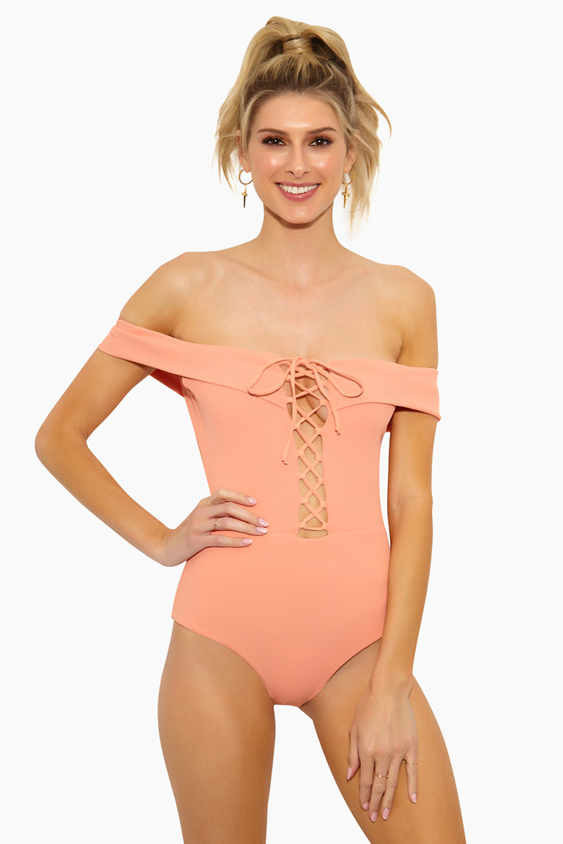 Anja Off Shoulder Lace Up One Piece Swimsuit - Tropical Peach