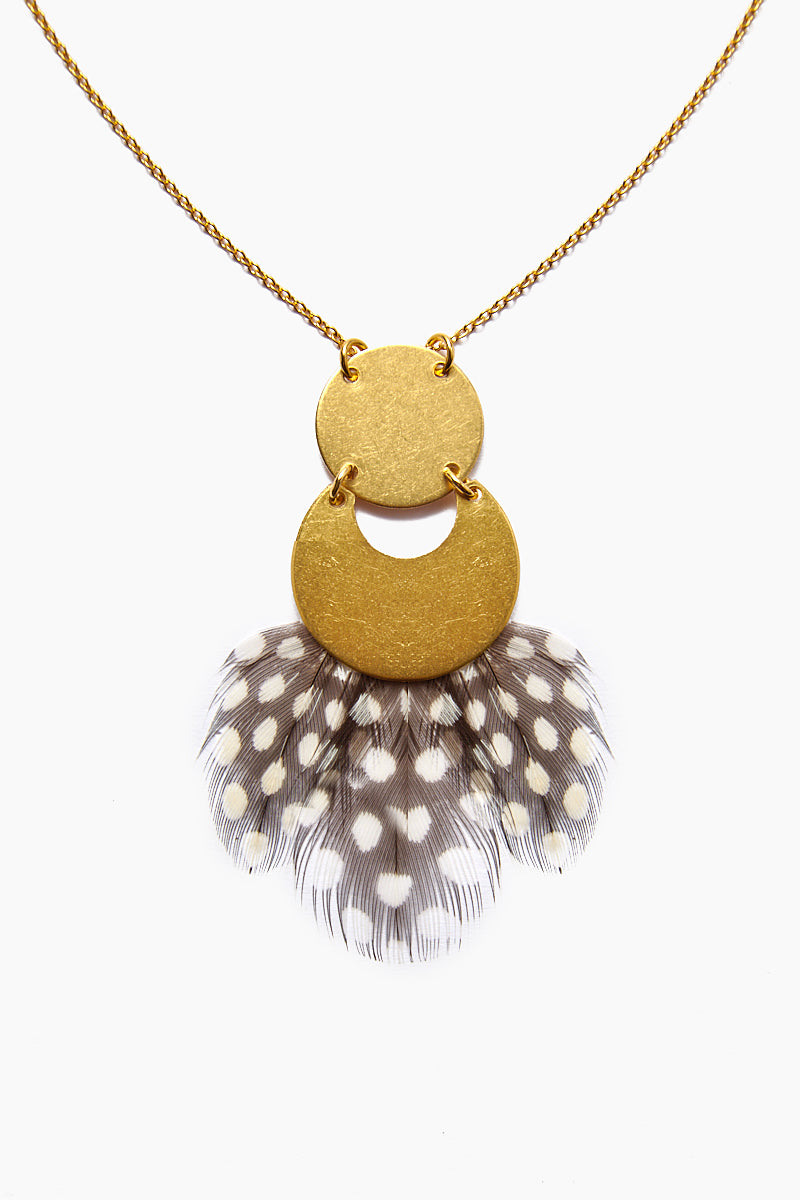 Feather Pendant Necklace - Gold Brass