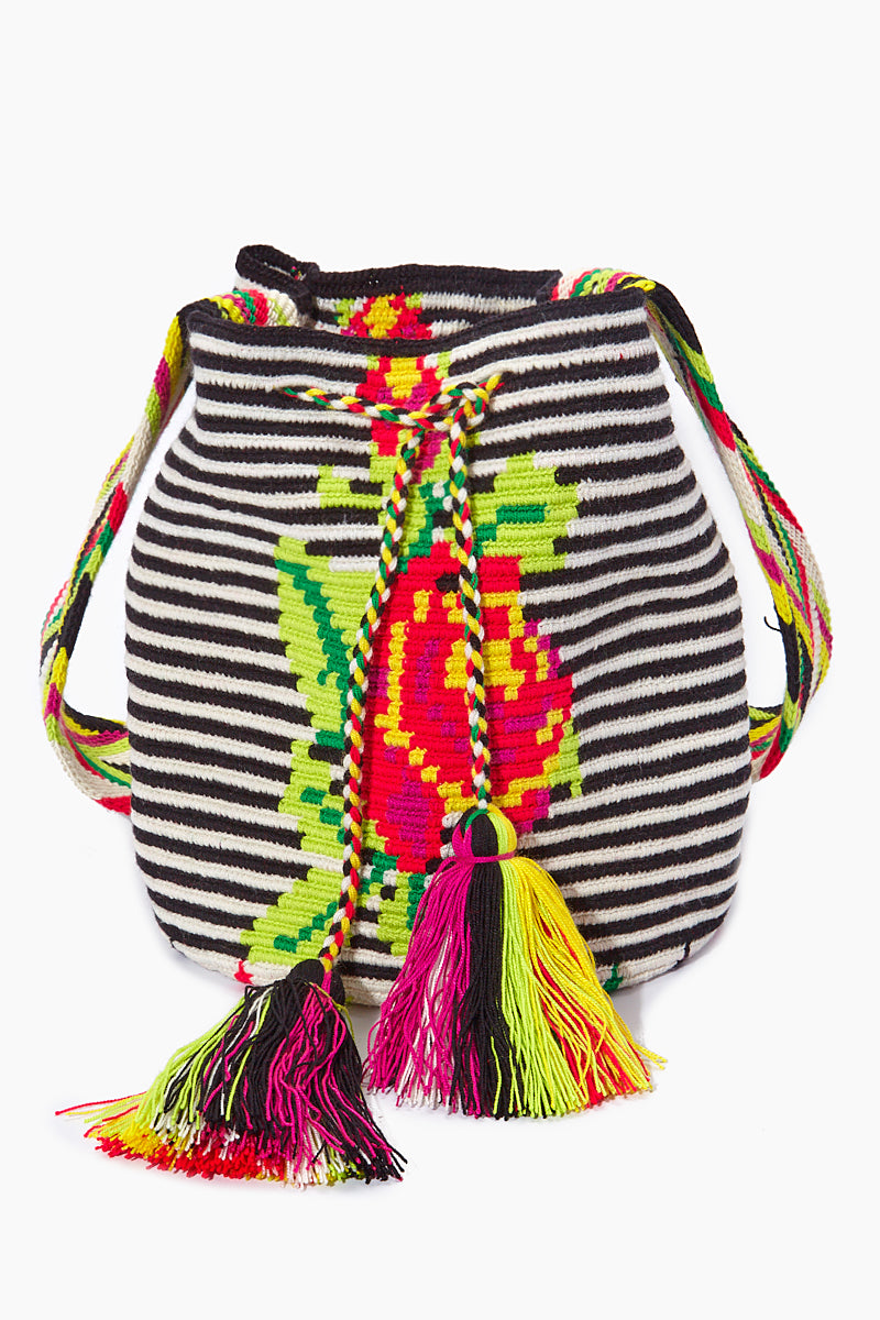 Providencia M Classic Bag - Black & White Stripe & Rose Print