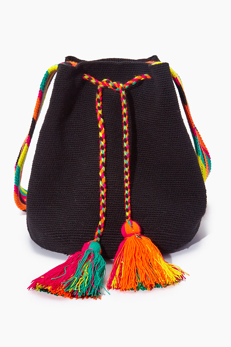 Bonita Classic Drawstring Bucket Bag - Black & Rainbow Braided Print