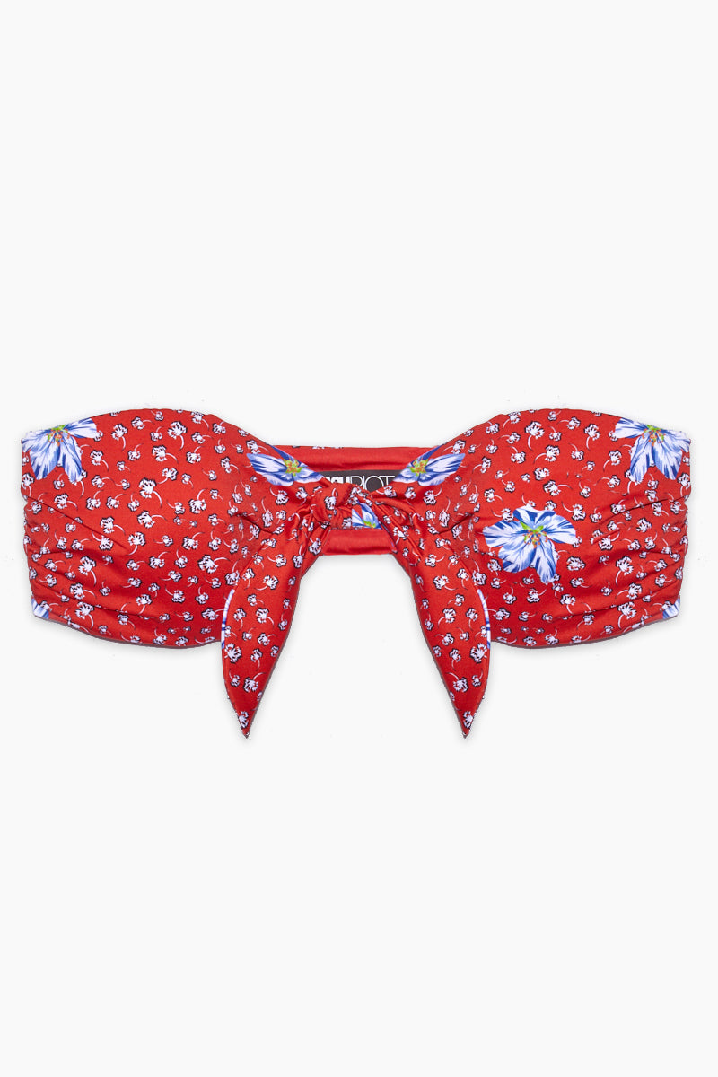 Sophie Front Knot Bandeau Bikini Top - Red Floral Print