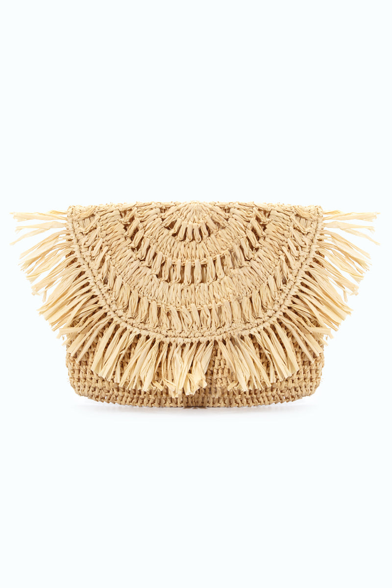 Mia Crocheted Raffia Fringe Pouches With Cotton Lining & Snap Closure - Natural