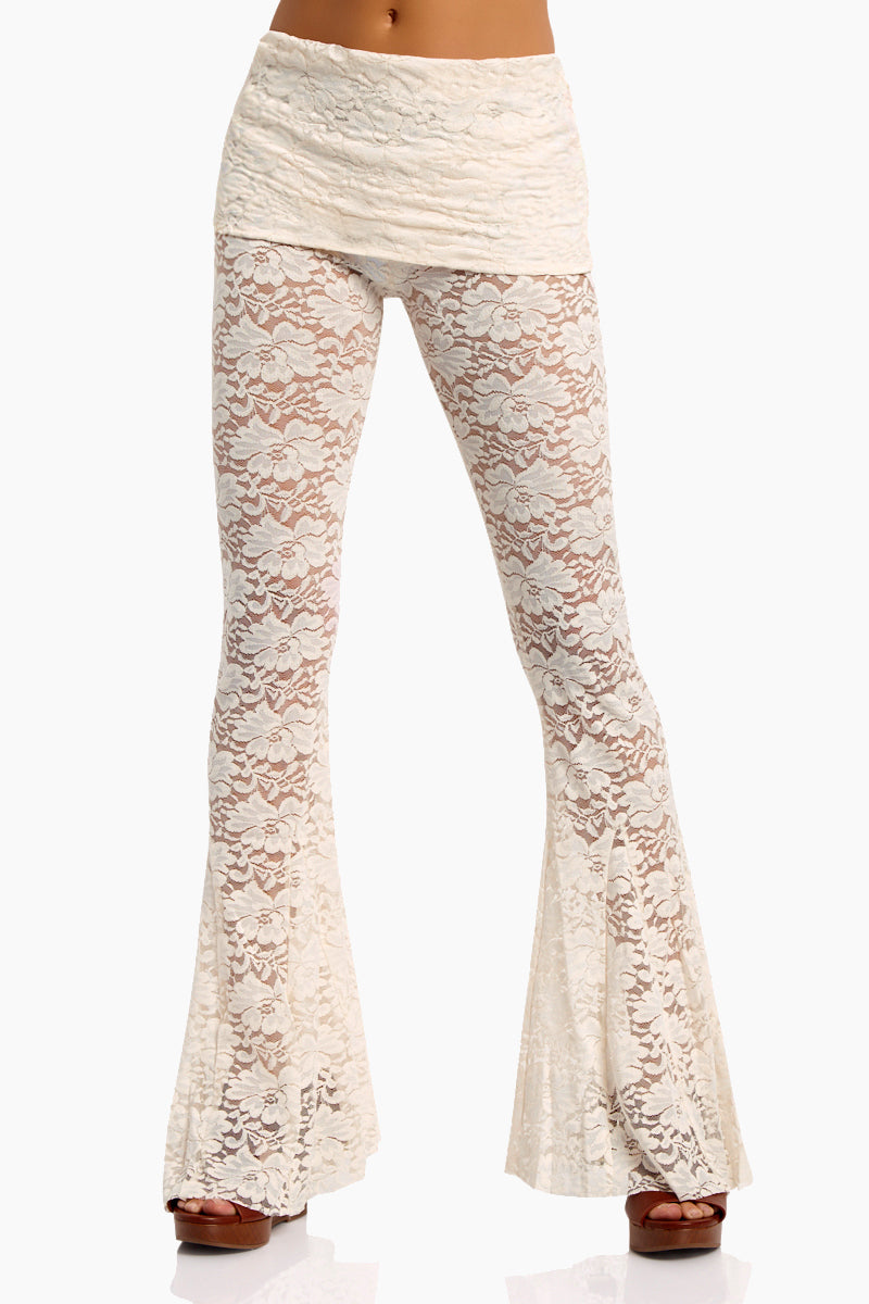 Blow Your Horn Lace Flare Pant - Walking On Eggshells