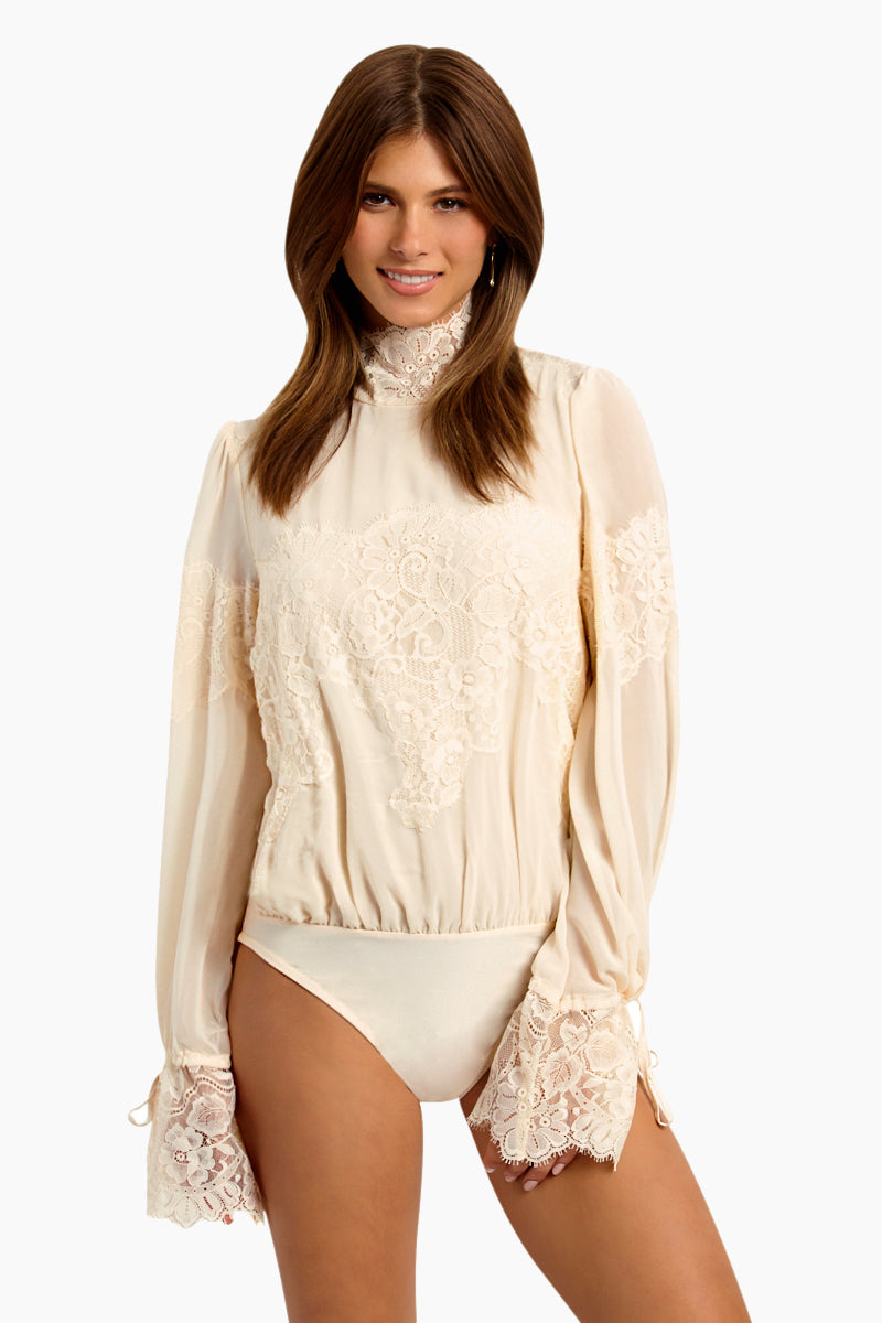 Queen 4 A Day Lace Long Sleeve Bodysuit - La Crème White