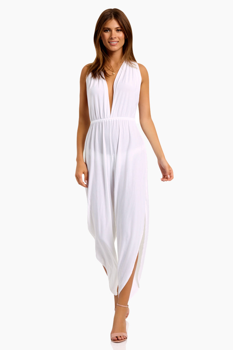 Michele HAH Belle Plunging Back Cut Out Capri Jumpsuit - Blanc White