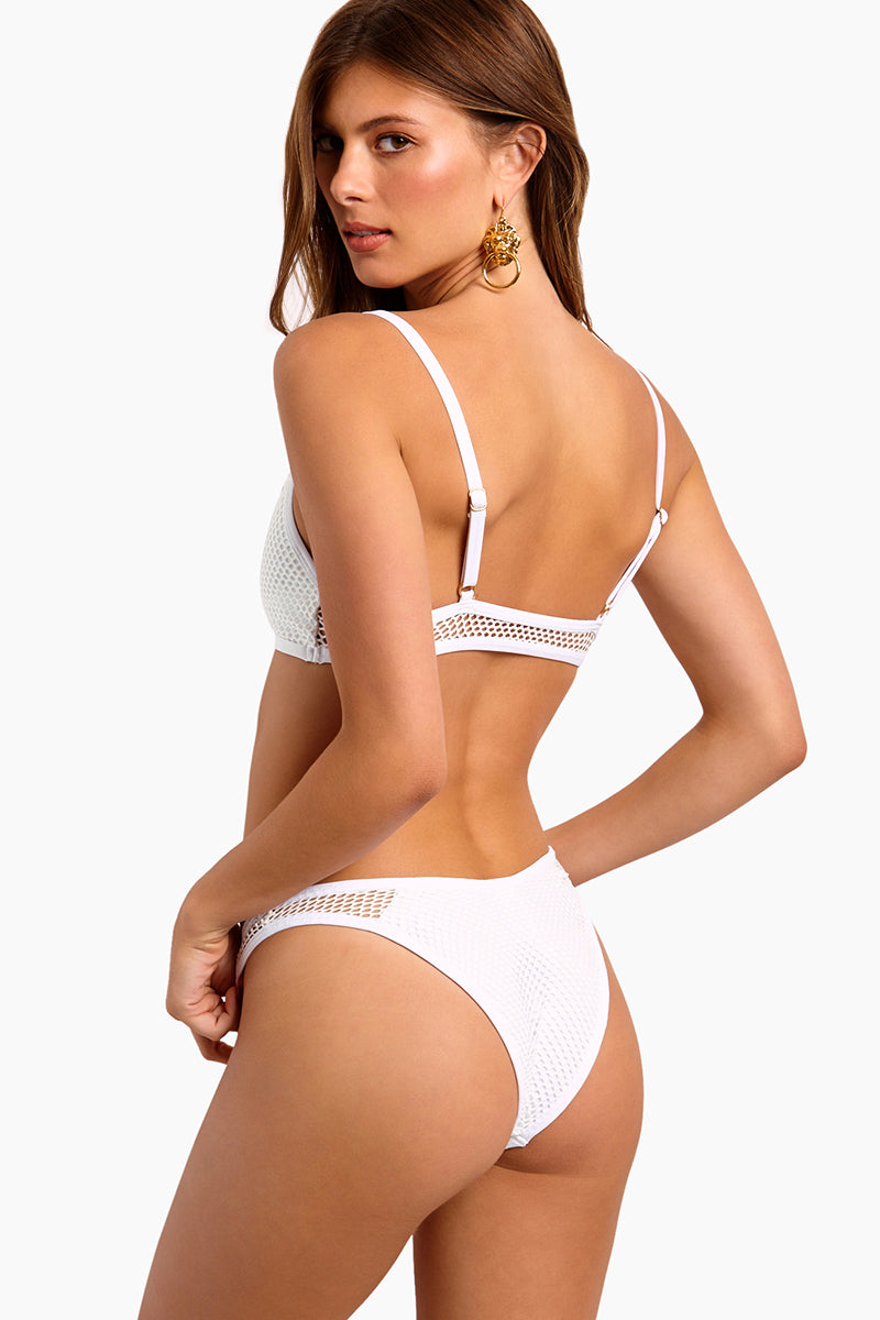Stevie Mesh High Cut Bikini Bottom - White