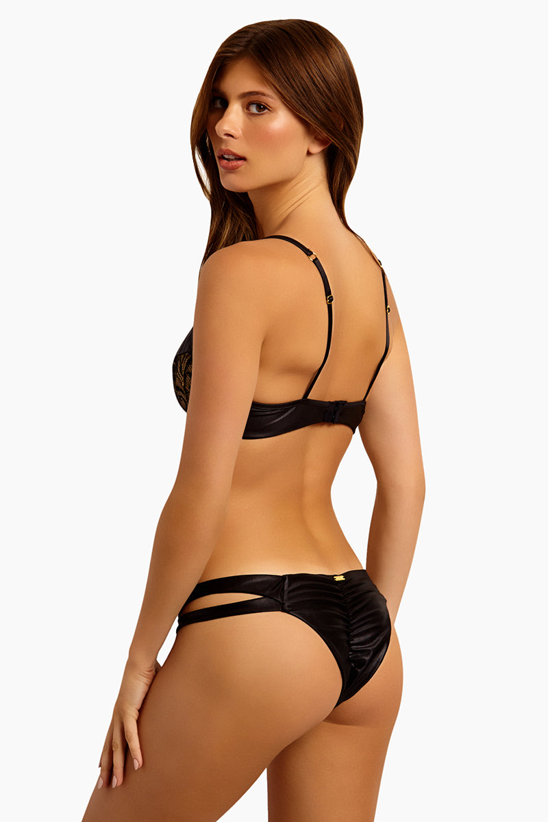 Harper Cut Out Bikini Bottom  - Black Lace