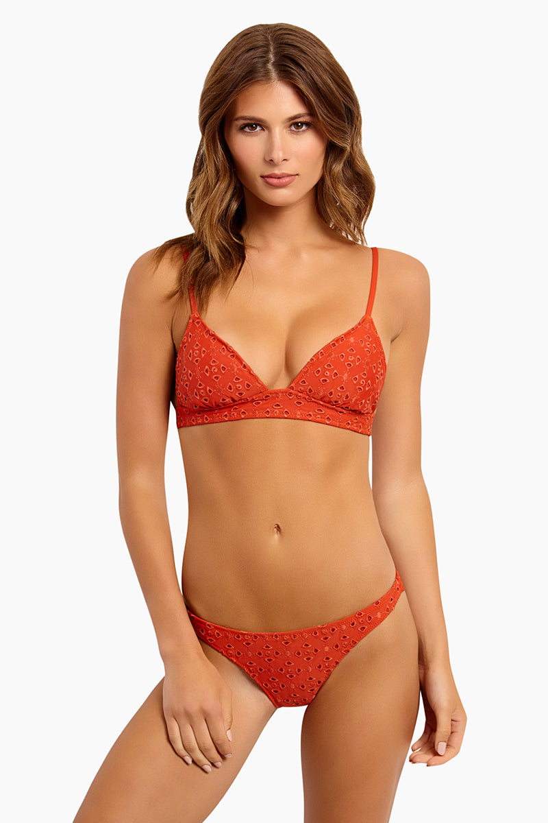 Chandrani Tara Eyelet Triangle Bikini Top - Terracotta Orange