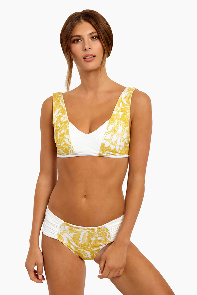 Milos Reversible Color Block Back Tie Bralette Bikini Top - Bamboo Yellow Floral Print/Cream White