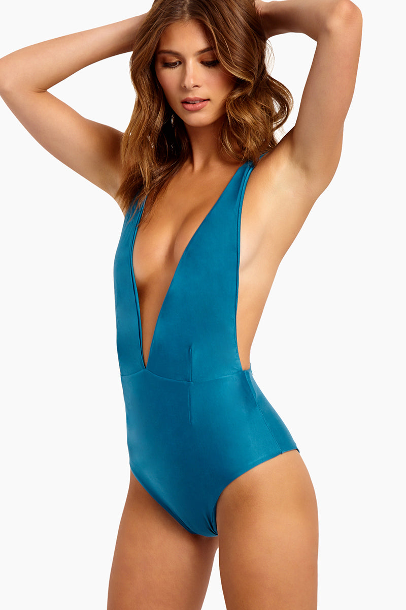 Marina Plunge One Piece Swimsuit - Blue Topaz