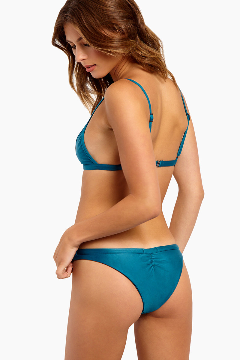 Taping Ruched Bikini Bottom - Blue Topaz
