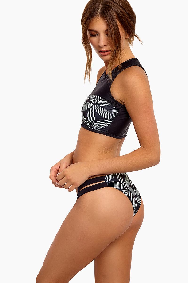 Chloe Reversible Double Side Strap Bikini Bottom - Black/Mandala Floral Print