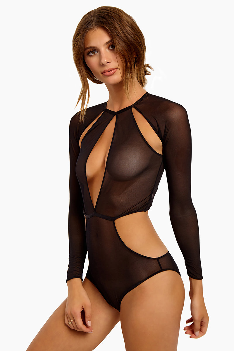 Fierce Cut Out Mesh Bodysuit - Black