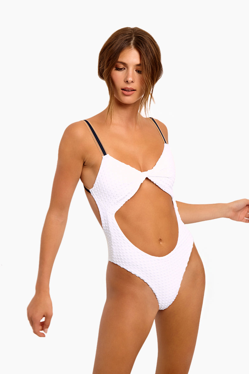 Cruise Textured Twist Front Cut Out One Piece Swimsuit - Bright White