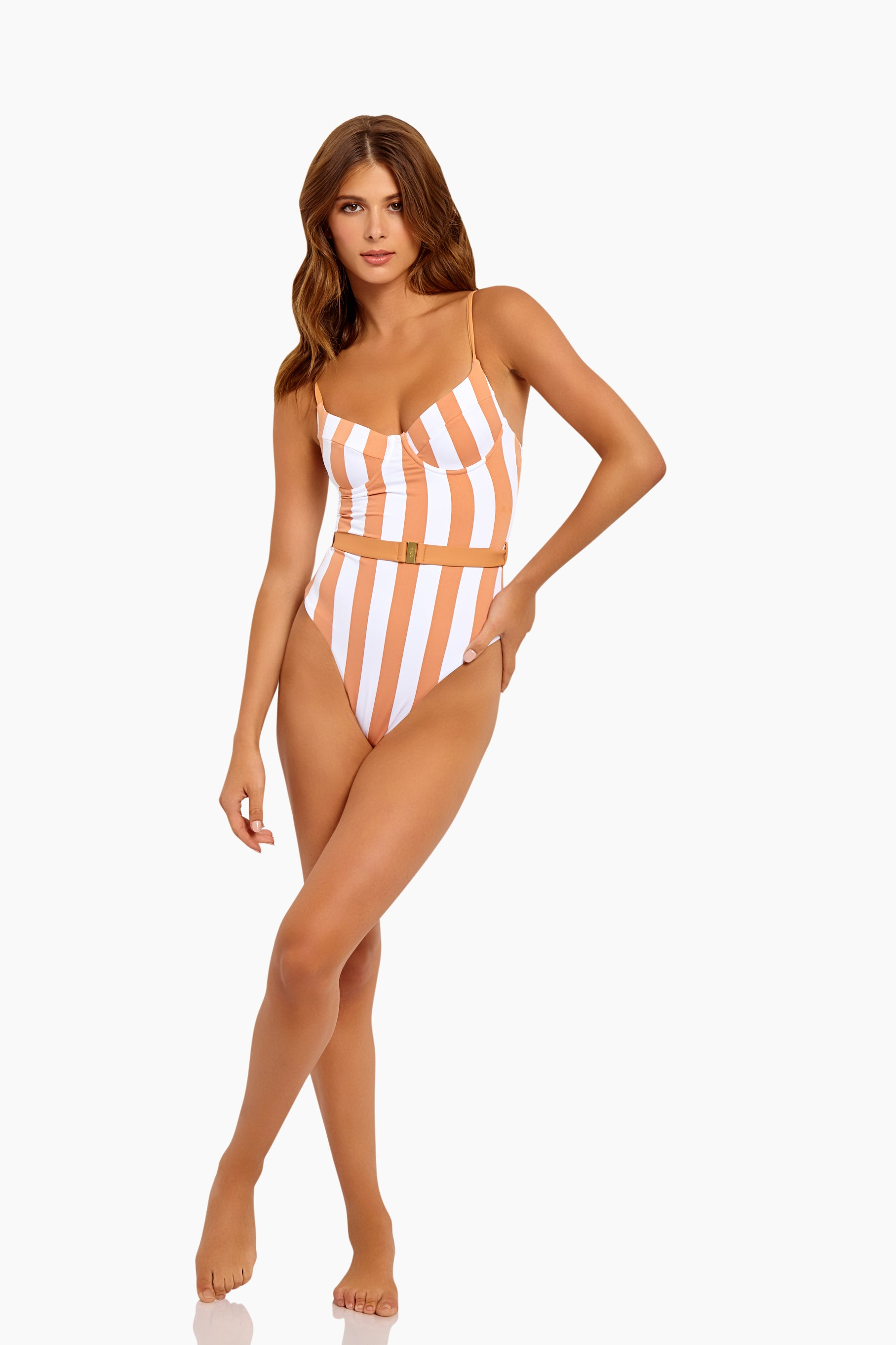 Danielle Underwire Belted One Piece Swimsuit - Nude & White Stripe Print
