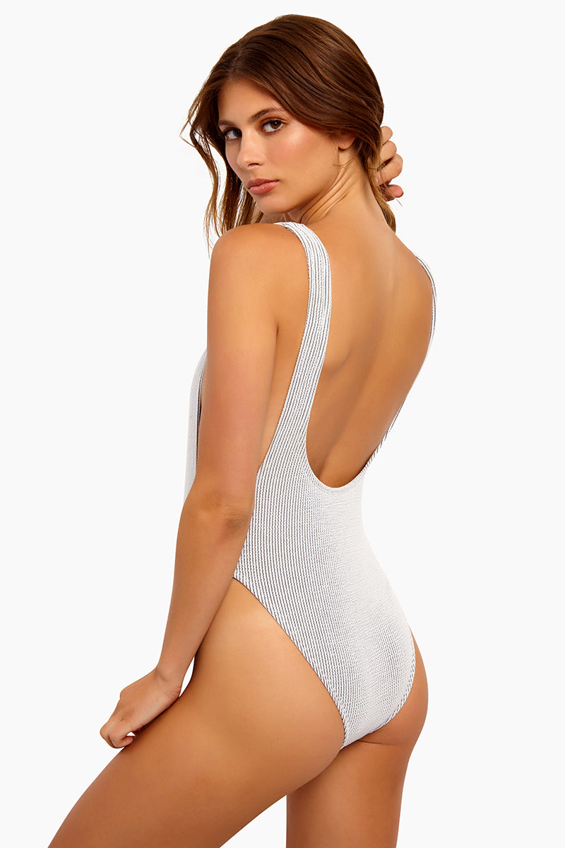 866b7efbb600 STYLE:White crinkle ribbed high cut scooped one-piece swimsuit. The crinkle  rib white fabric is lined and a real show stopper. Chunky shoulder straps  with ...