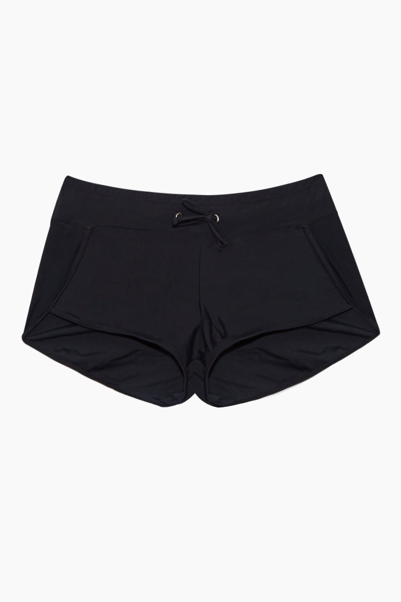 Adjustable Waistband Swim Shorts - Black