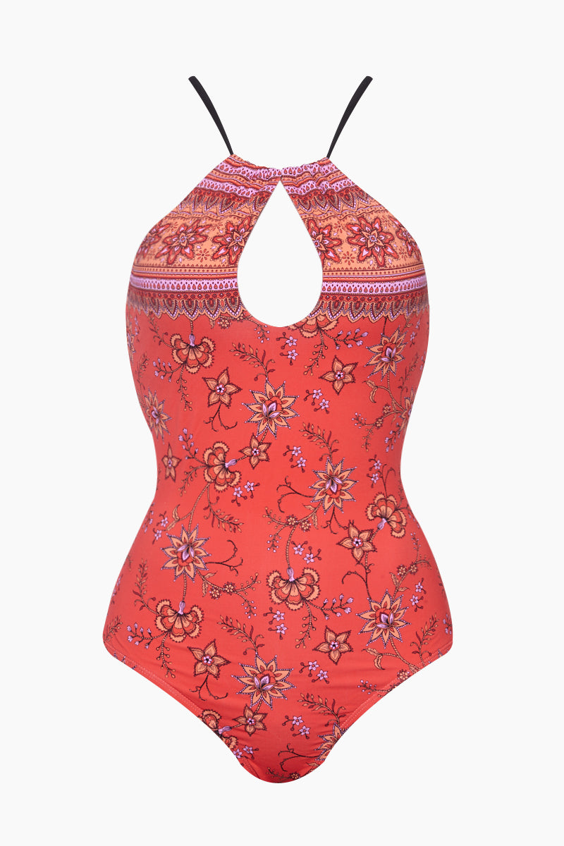 Key Hole High Neck One Piece Swimsuit - Indonesia Red Floral Print