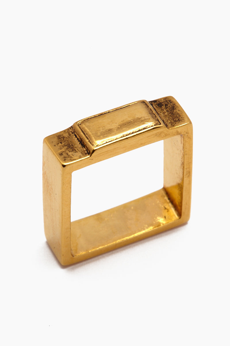 Fight The Power Gold Square Ring - Gold