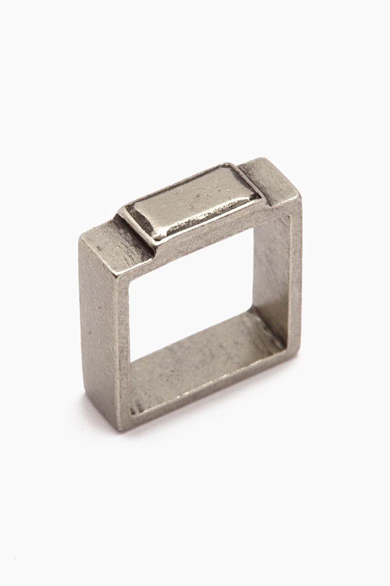 Fight The Power Pewter Square Ring - Silver
