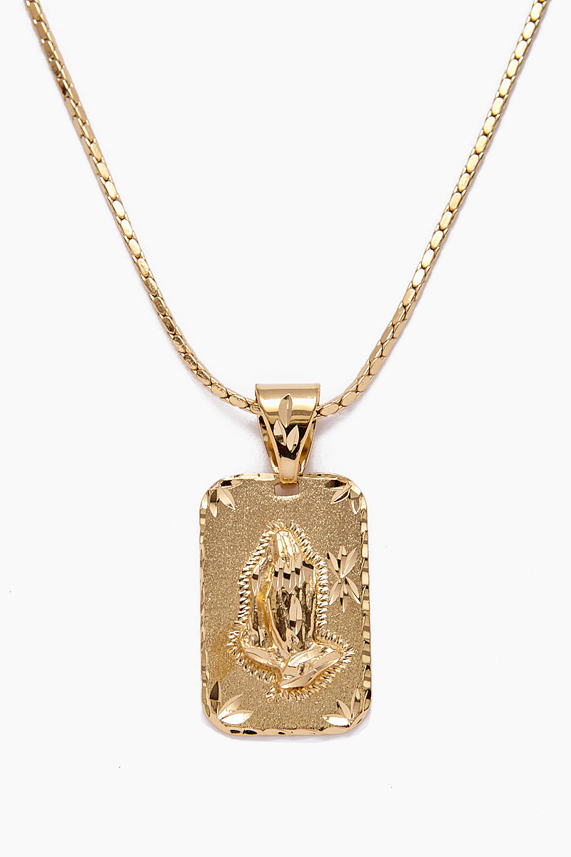 The Praying Hands Gold Necklace - Gold