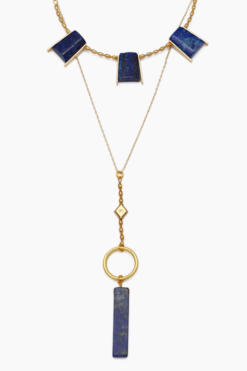 The Erykah Statement Necklace - Gold/Blue