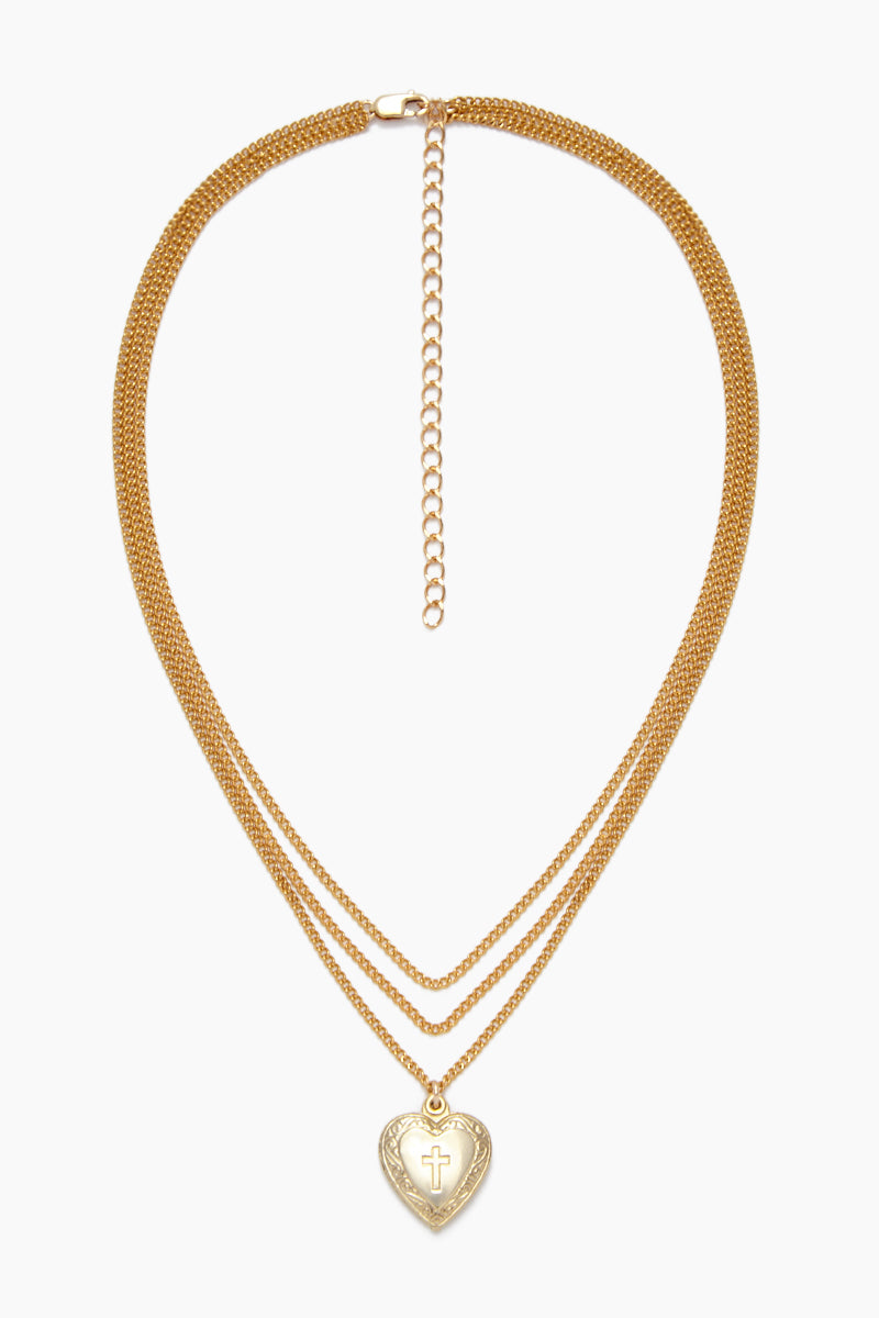 Blessed Layered Hear Choker - Vintage Gold