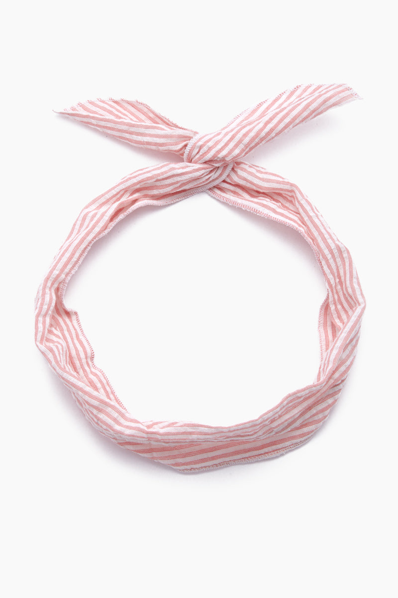 Emma Headband - Red & White Stripe Print
