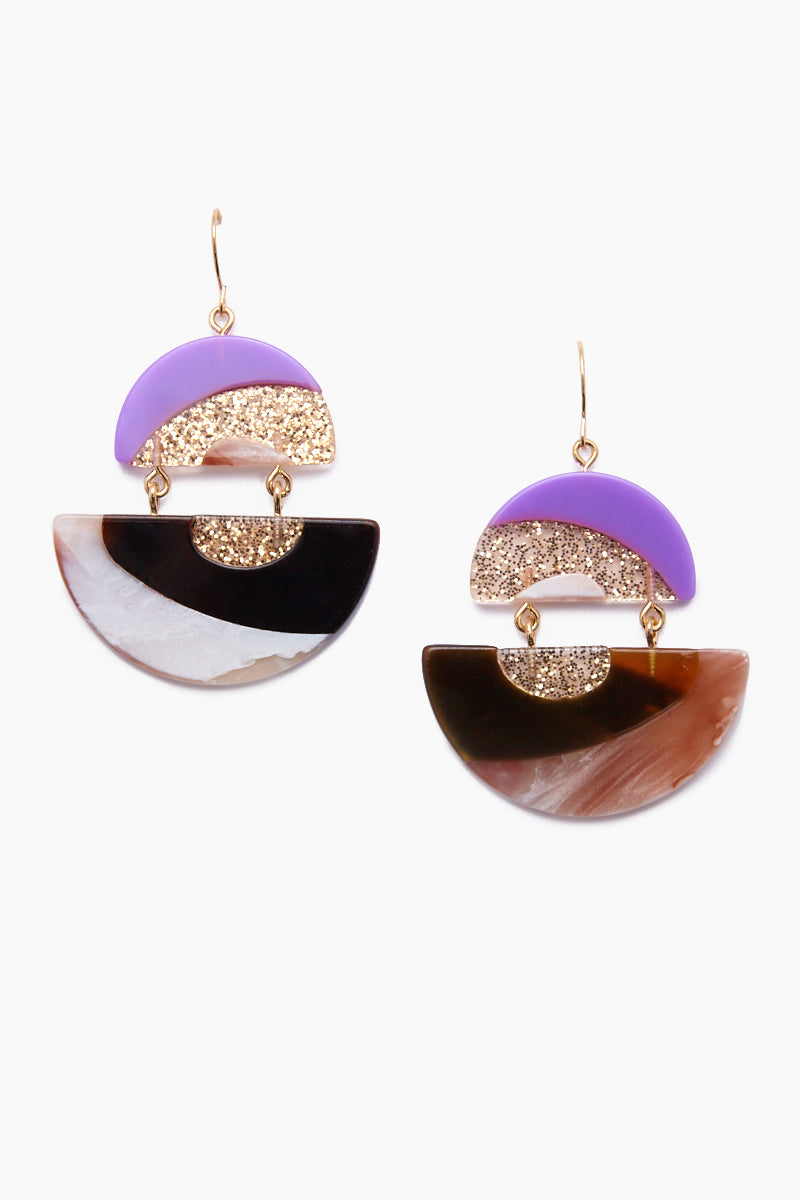 Ashley Drop Earrings - Purple & Gold Abstract Print