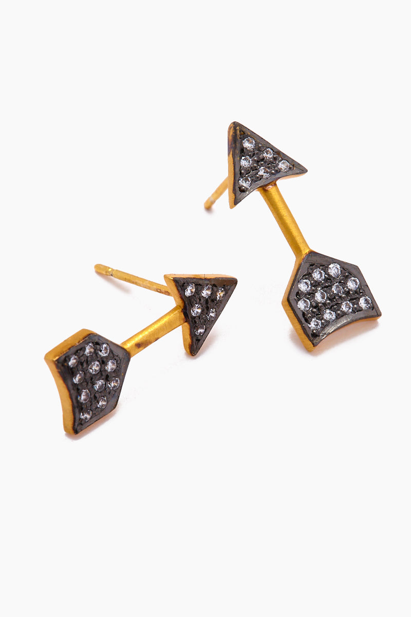 Imogen Stud Earrings - Gold/Black