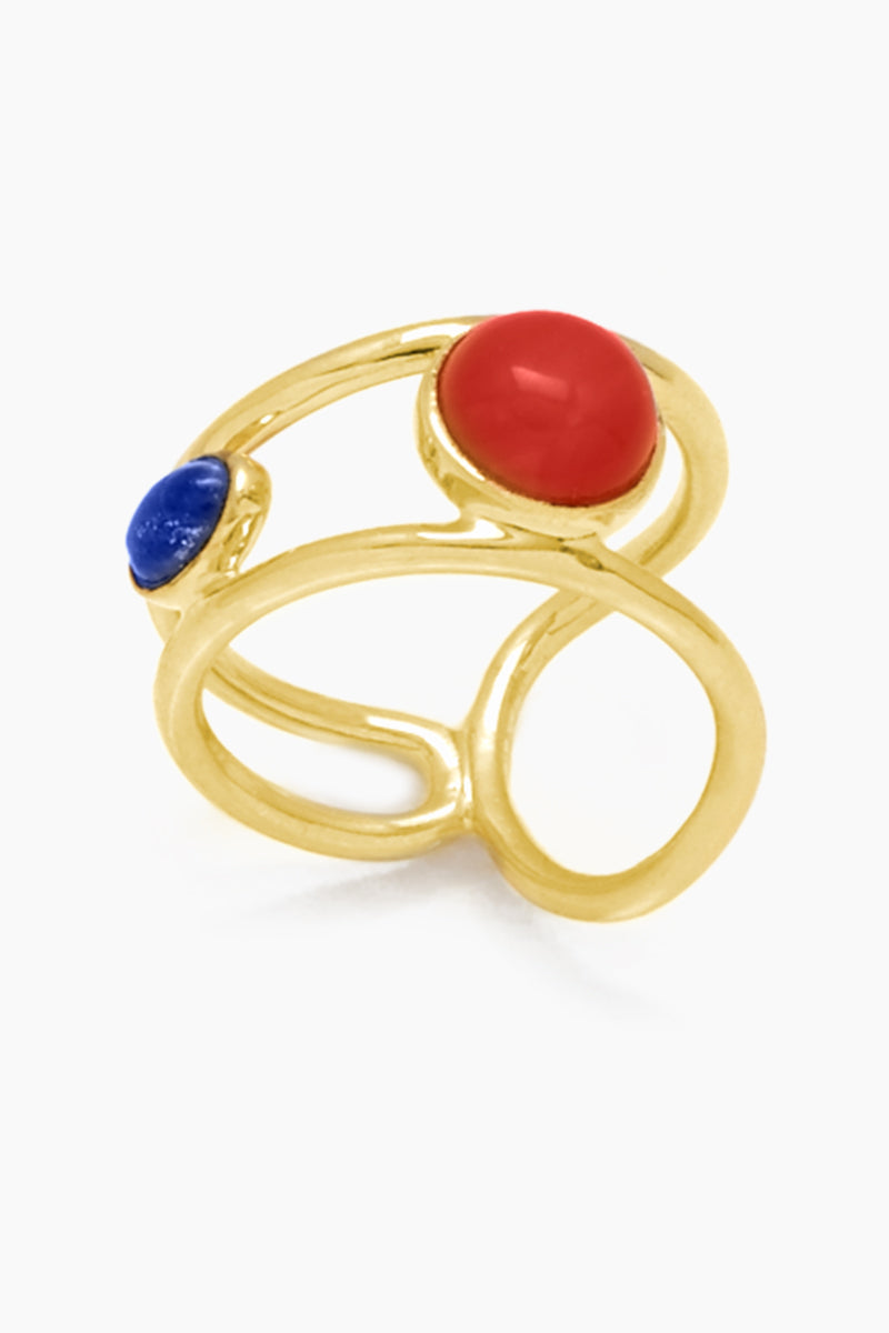 Free Flow Gemstone Ring - Brass
