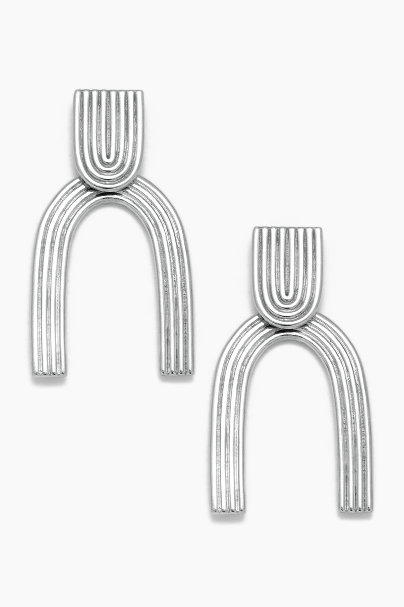 Arc Stud Drop Earrings - White Gold