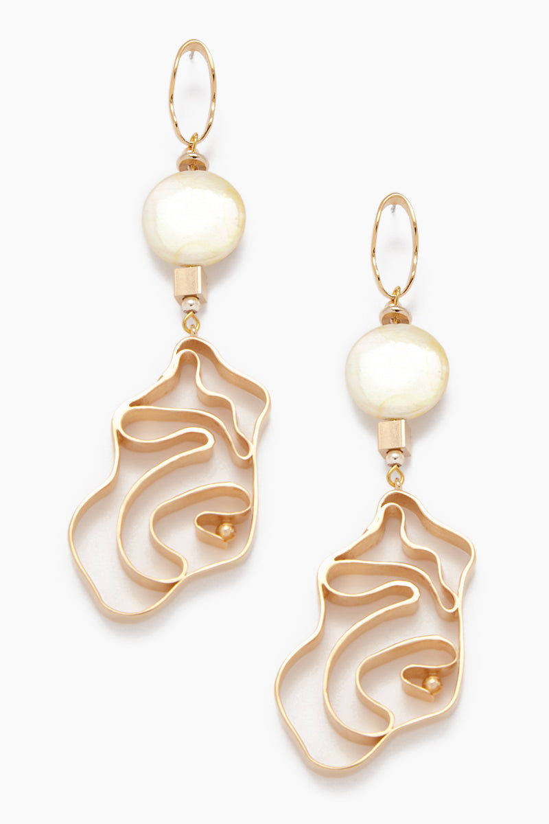 Vintage Pearl Whirlpool Earrings - Yellow Gold