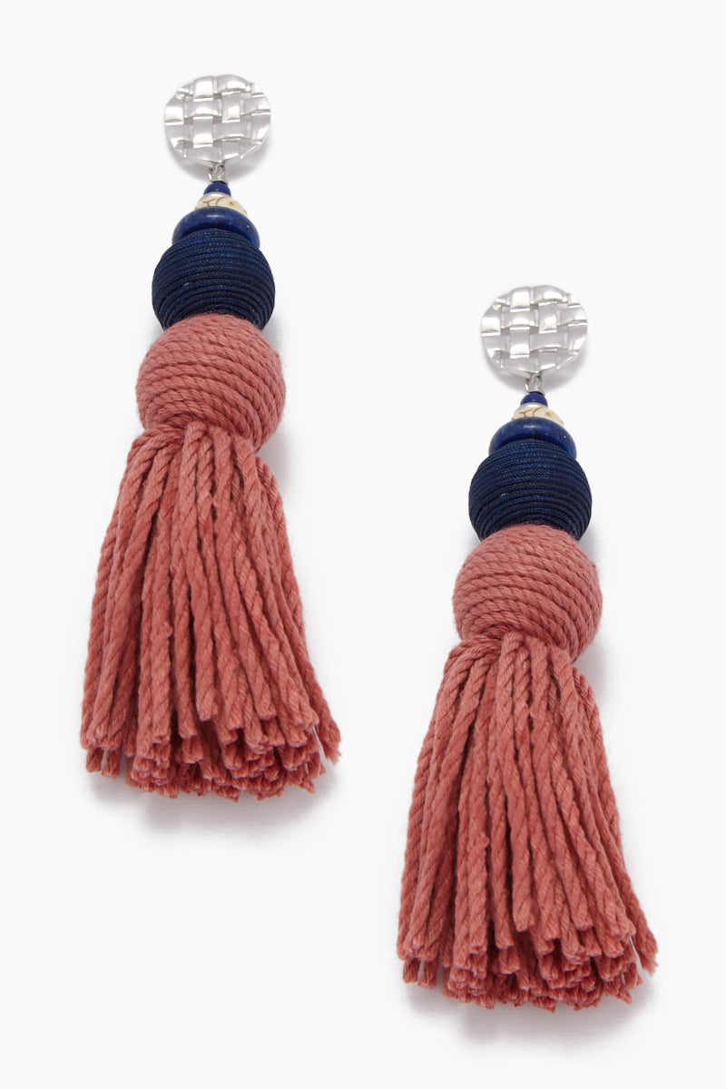 Rustic Gemstone Tassel Earrings - Silver