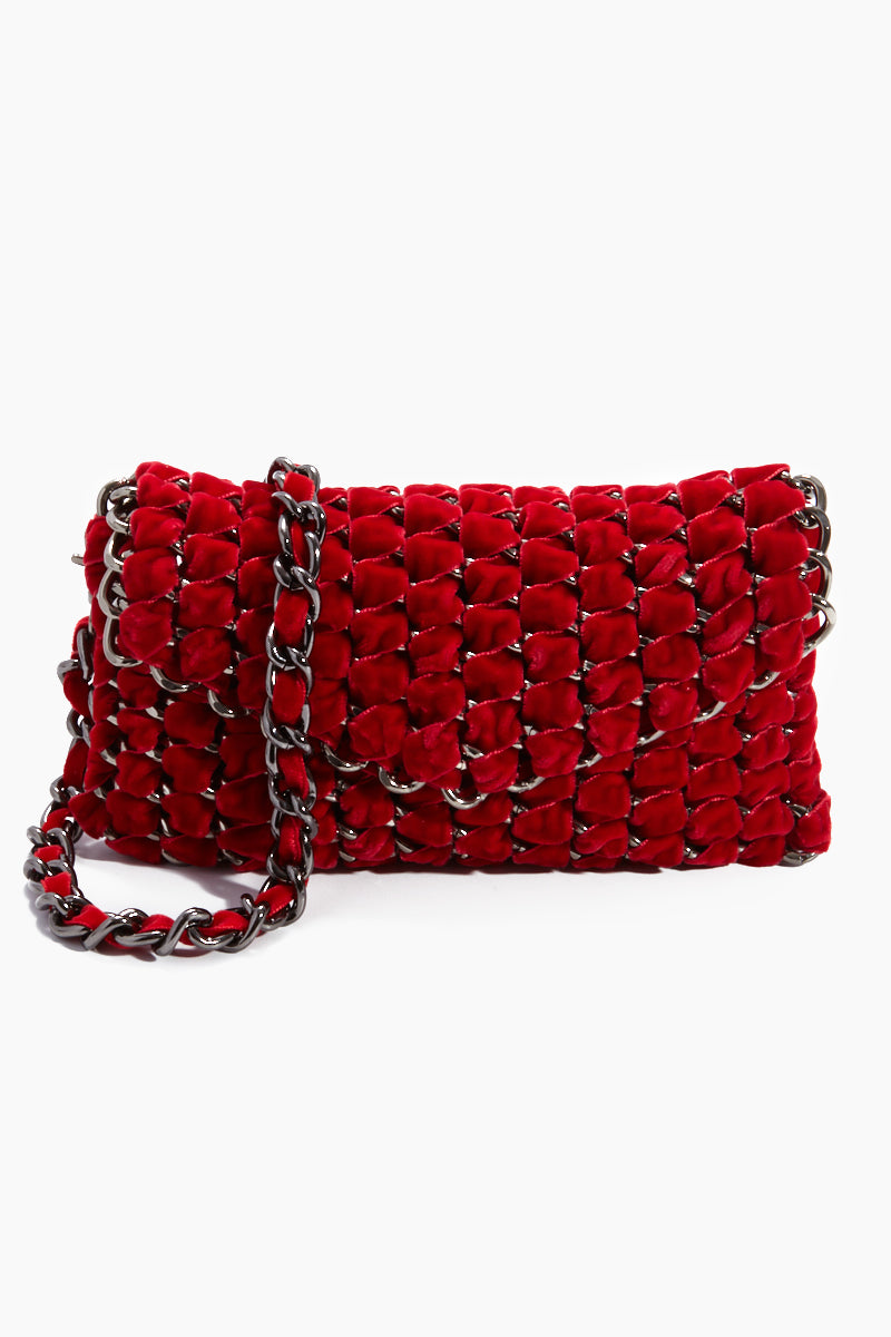 Velvet Eve Crossbody Clutch  - Cherry Red