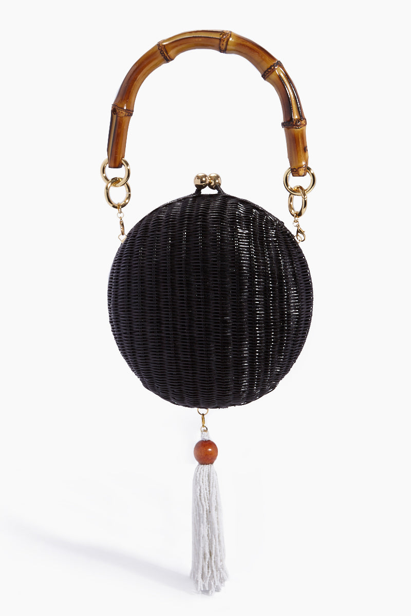 5ecd295f8 ... SERPUI New Lizzy Wicker Circle Clutch With Top Handle - Black/White -  undefined undefined