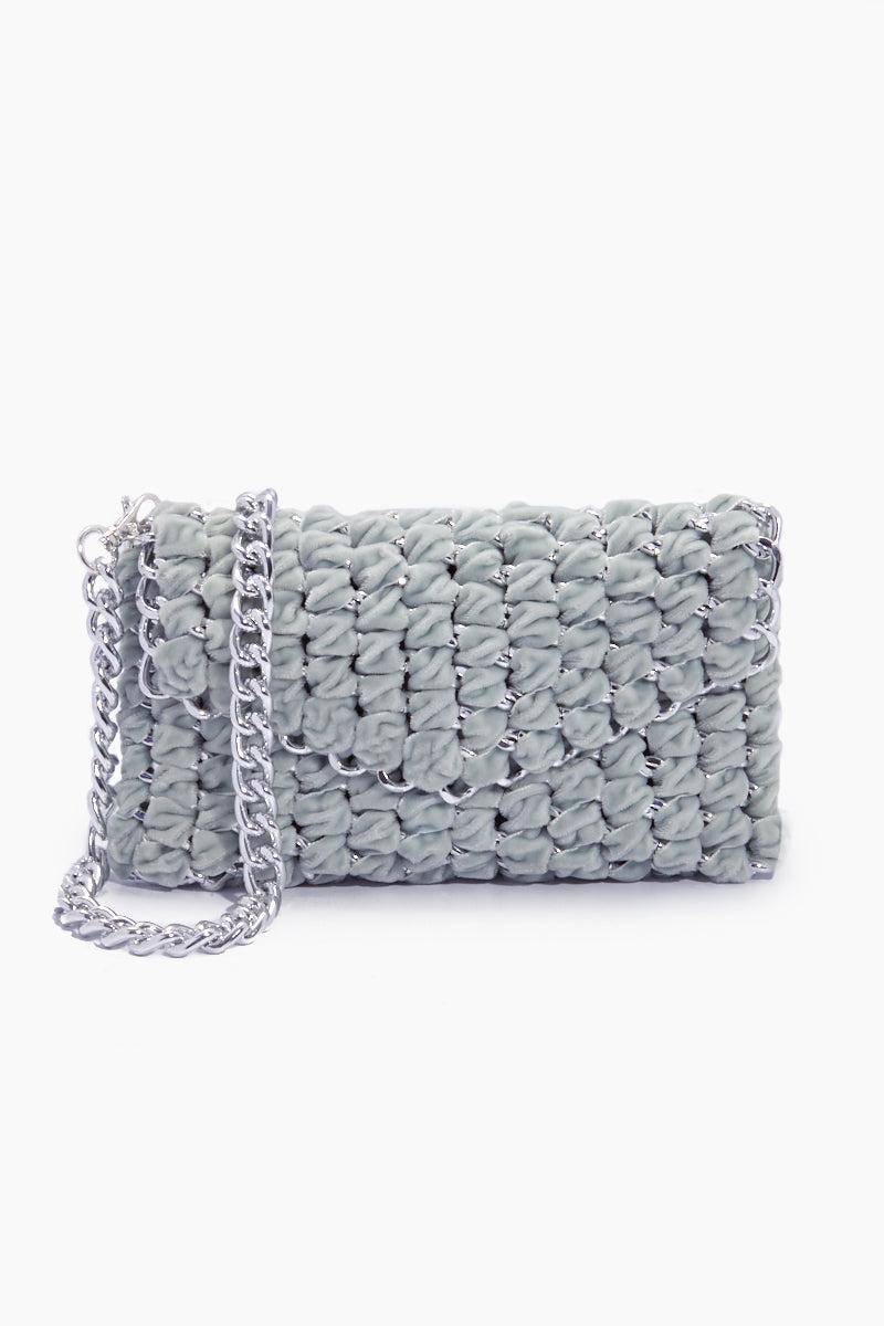 Velvet Eve Crossbody Clutch  - Icy Grey
