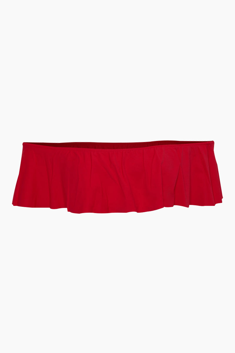 Cora Ruffle Off Shoulder Bikini Top - Cherry Red