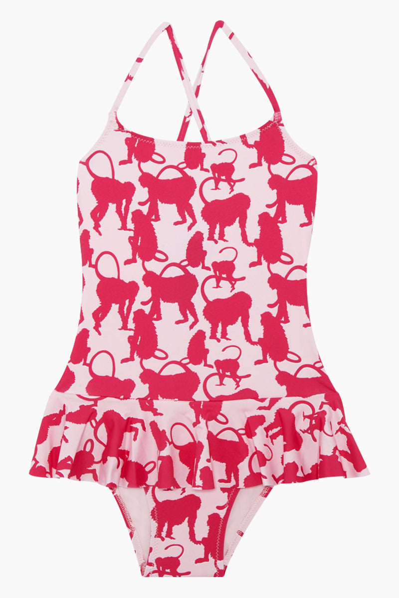 Grilly Ballerina One Piece Swimsuit (Kids) - Pink Happy Monkeys Print