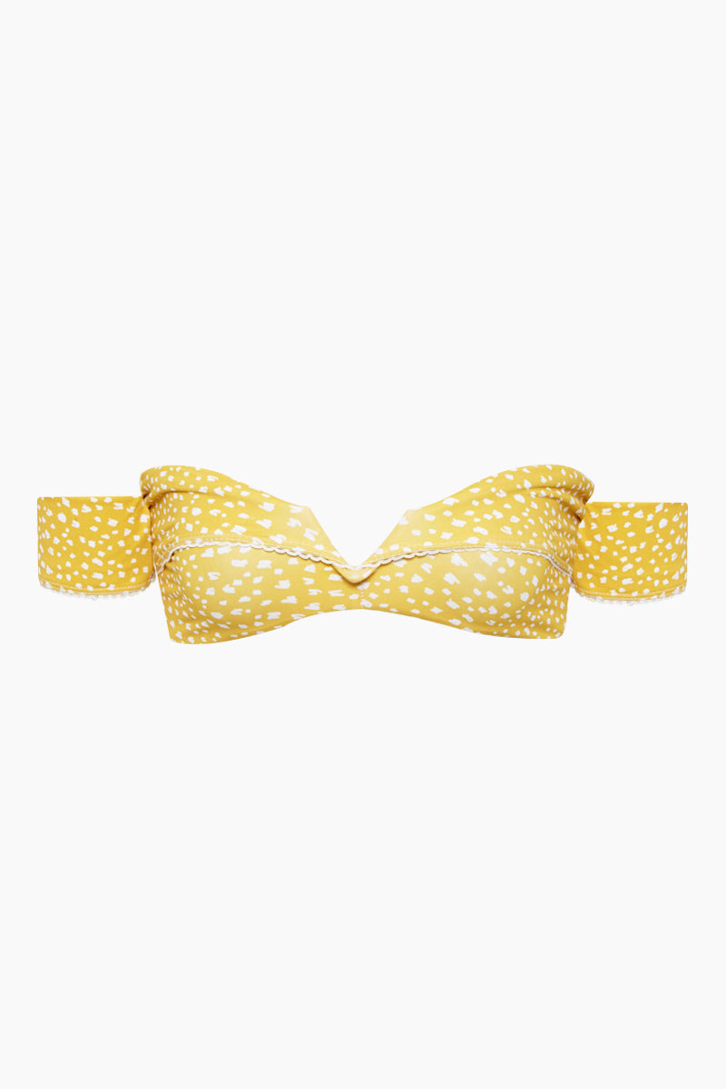 Off Shoulder V Wire Bikini Top - Marigold Yellow Speckled Print