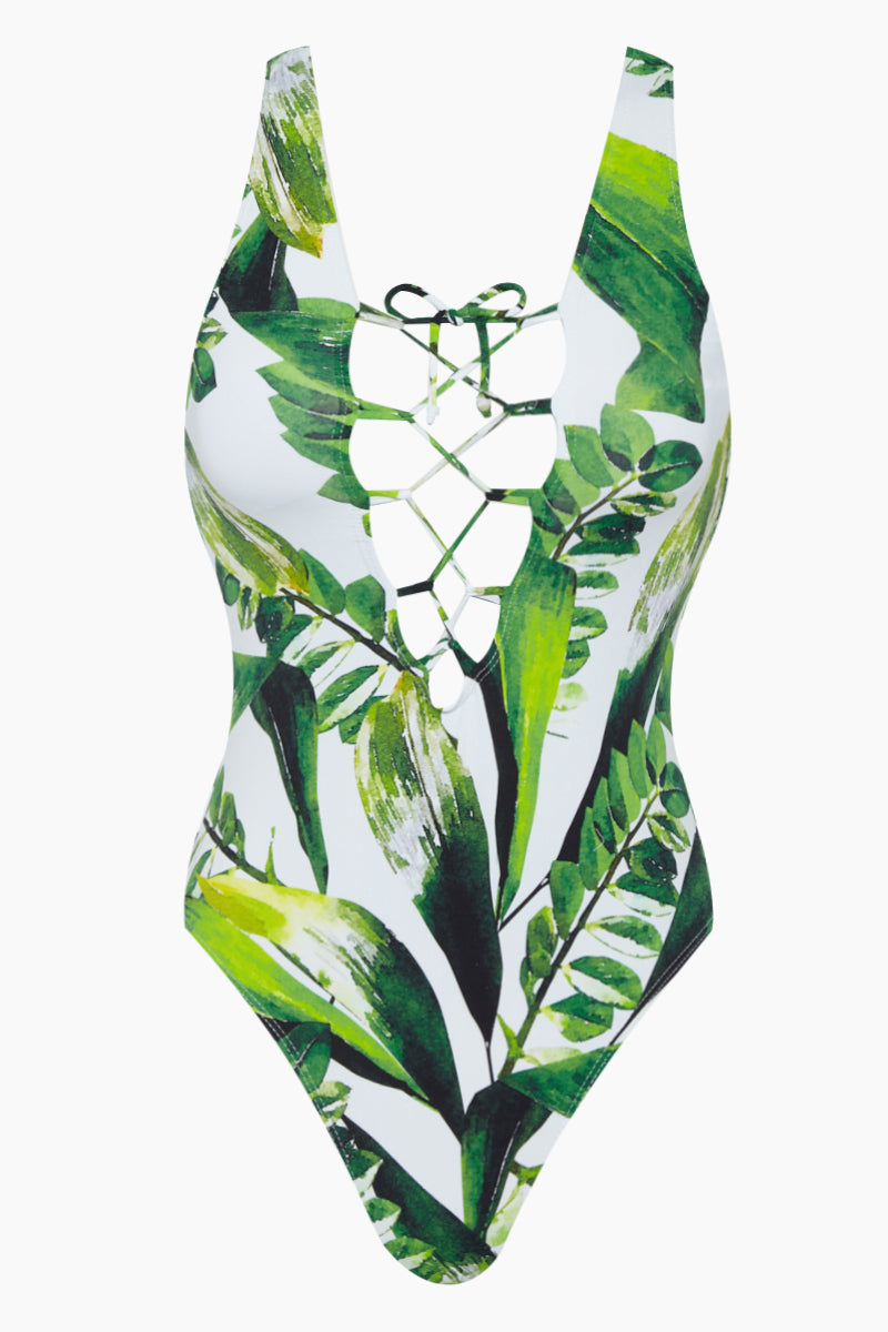 Lace Up Front One Piece Swimsuit - Tropical