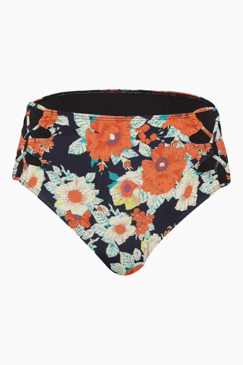 Lace Up High Waisted Bikini Bottom - Vintage Floral
