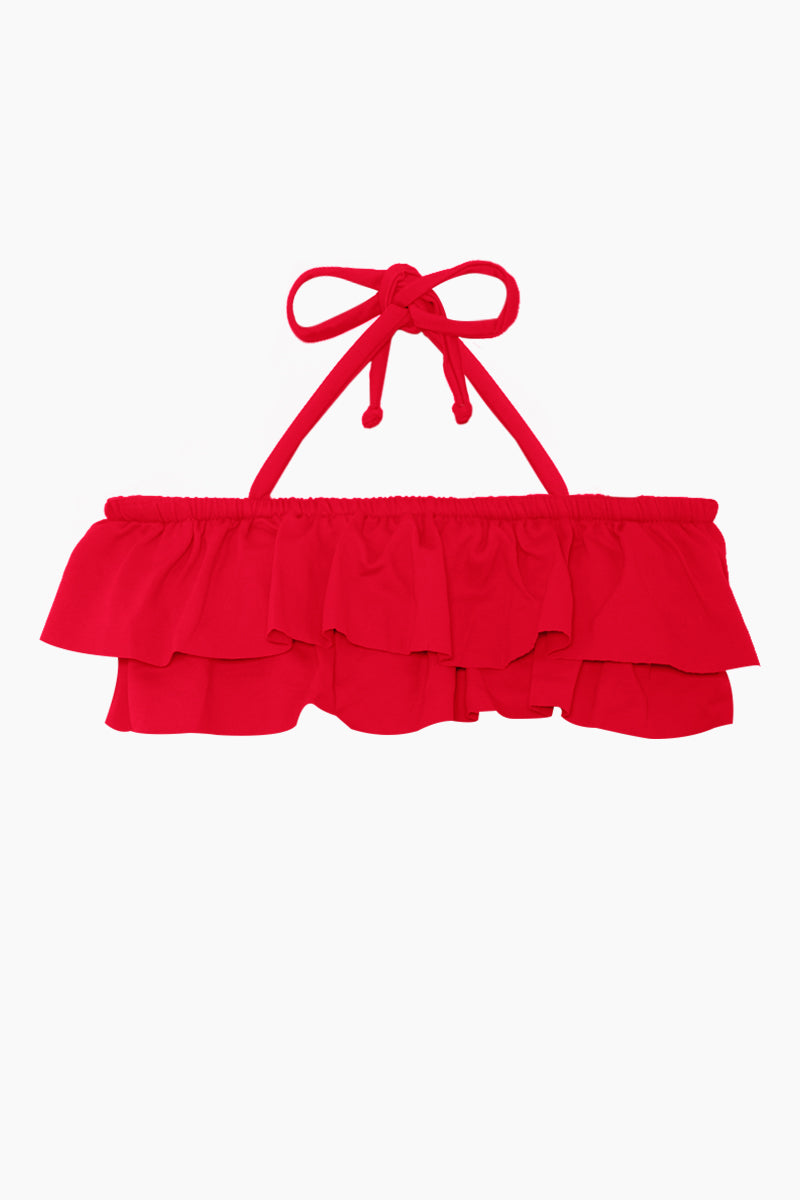 Kerri Bandeau Bikini Set (Kids) - Cherry Red