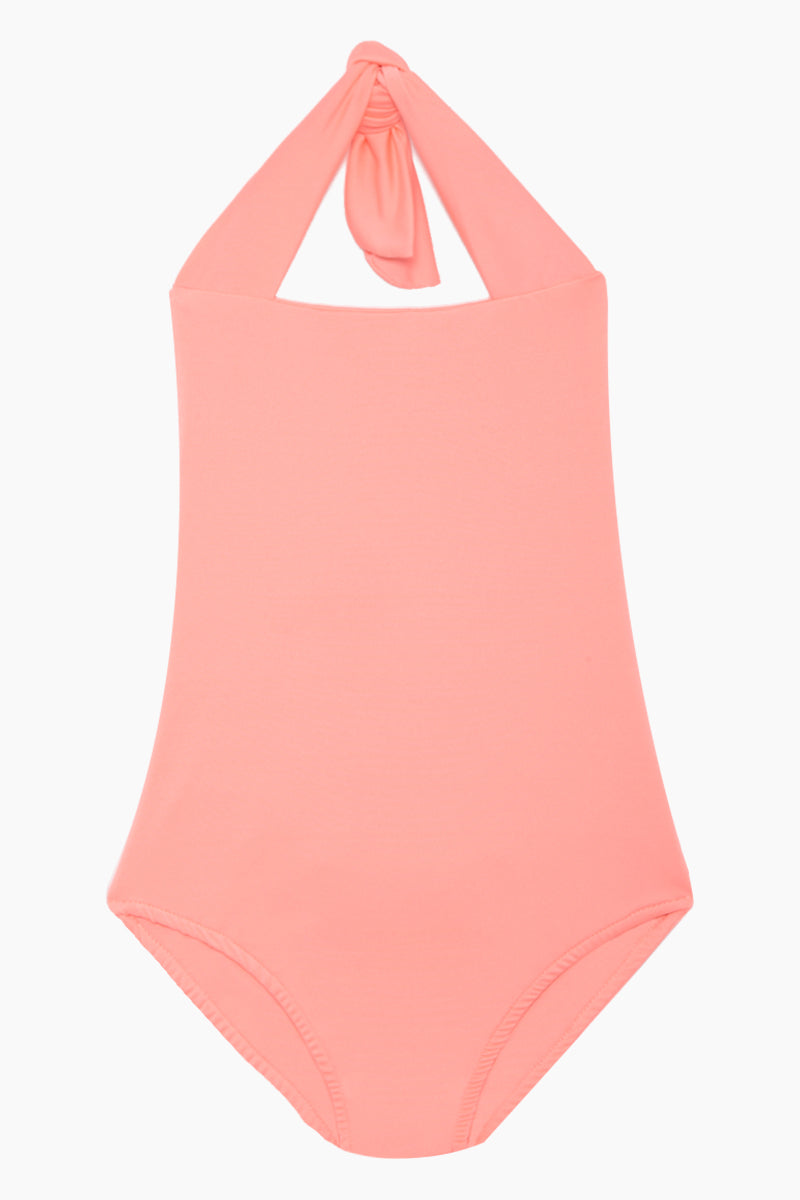 Layla Open Back One Piece Swimsuit (Kids) - Salmon