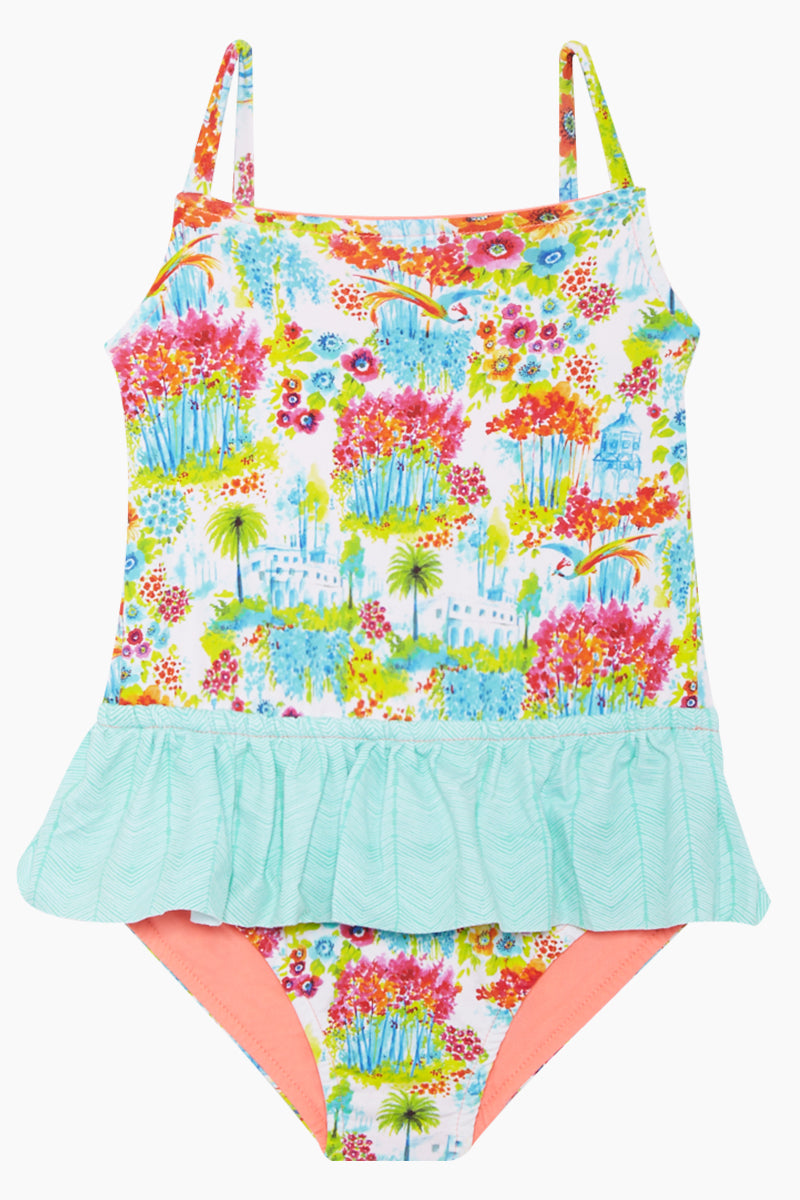 Rosie Ruffle One Piece Swimsuit (Kids) - Botanic Gardens Print