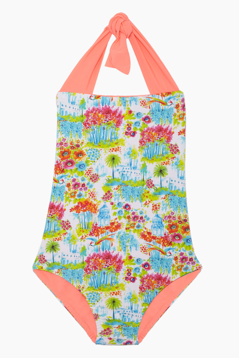 Layla Open Back One Piece Swimsuit (Kids) - Botanic Gardens Print