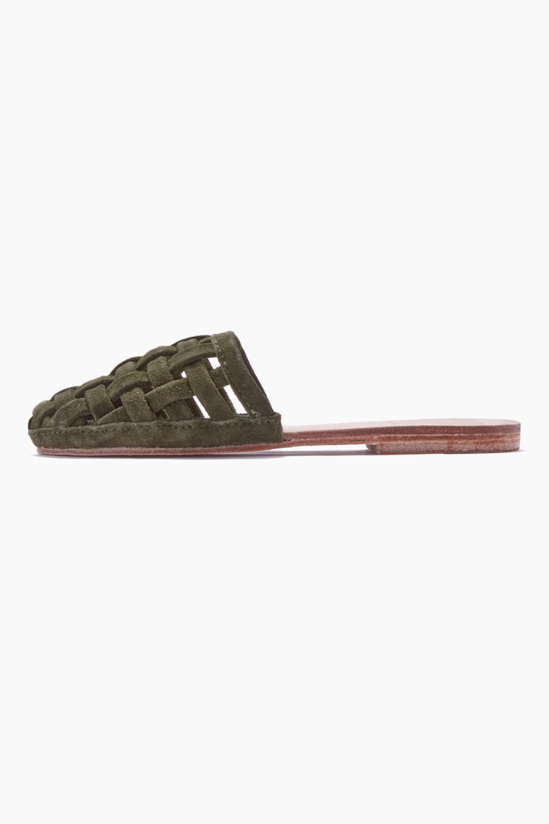 Cage Suede Strappy Sandals - Olive Green