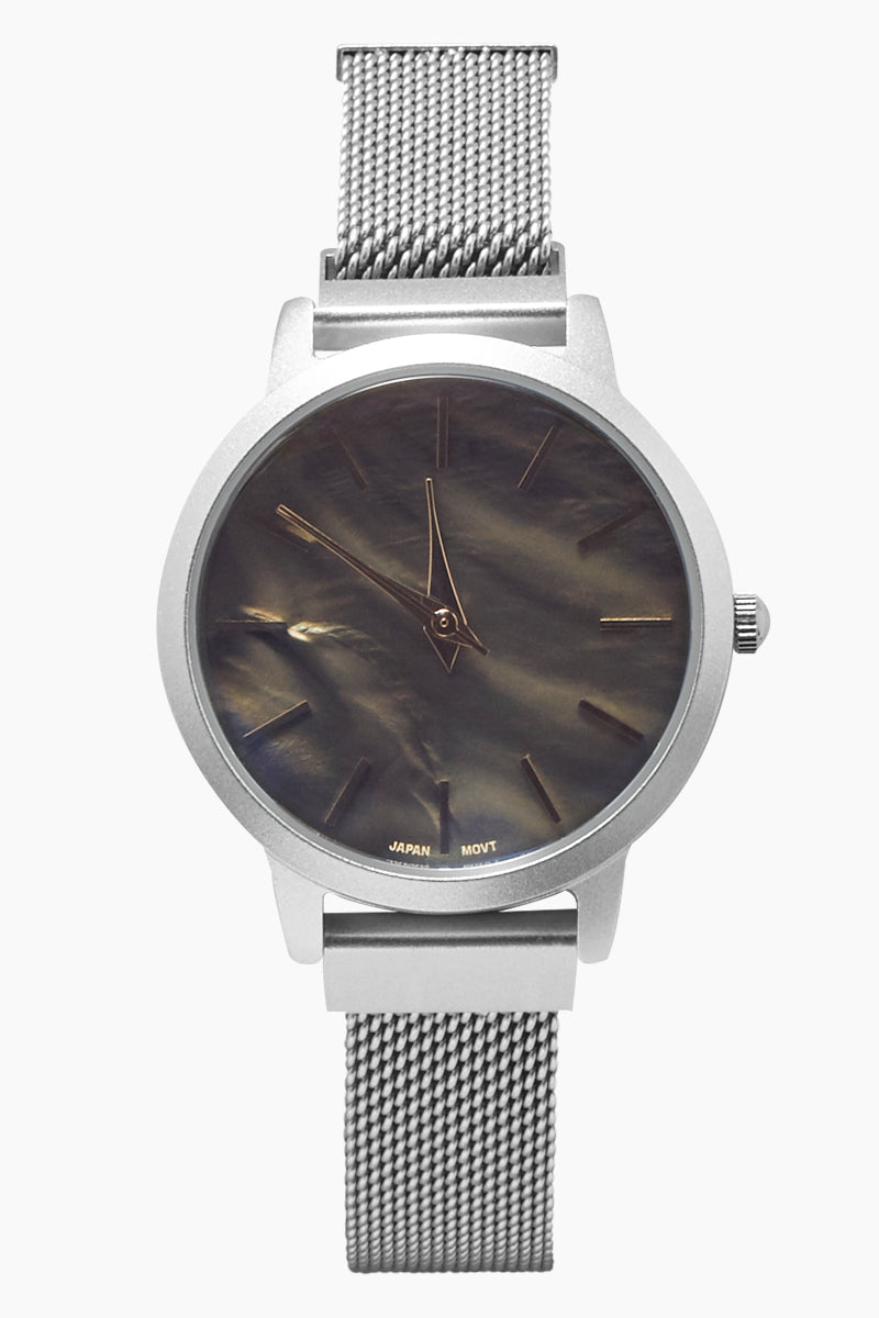 Round Metal Mesh Watch - Silver