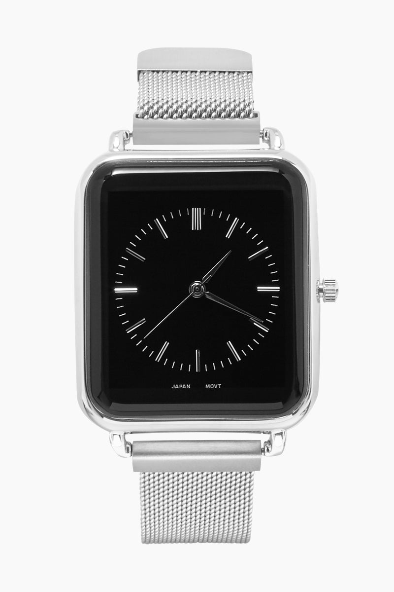 Square Watch W/ Mesh Wristband - Silver/Black