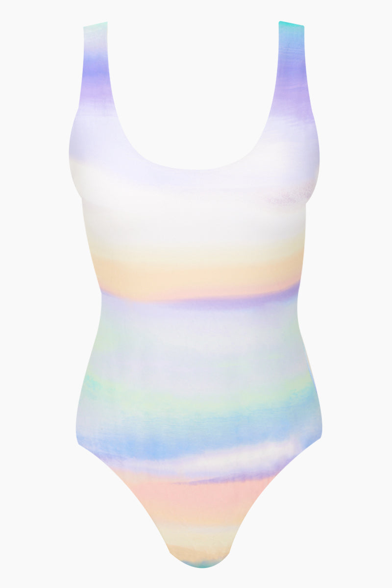 Visage Scoop Neck One Piece Swimsuit (Curves) - Rainbow Ombre Print